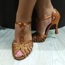 Femmes Satiné Talons Latin avec Strass Ouvertes Chaussures de danse