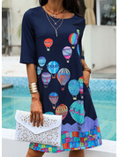 Print Shift 1/2 Sleeves Midi Casual Vacation Tunic Dresses
