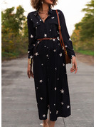 Print A-line 1/2 Sleeves Maxi Casual Shirt Skater Dresses