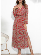 Druck Etui Lange Ärmel Maxi Lässige Kleidung Modekleider