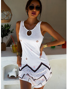 Print Shiftklänningar Ärmlös Mini Boho Fritids Semester Tank Modeklänningar