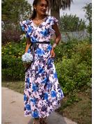 Blomster Print Kjole med A-linje Helt korte ærmer Maxi Casual Ferie skater Mode kjoler