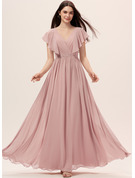 A-line Short Sleeves Maxi Romantic Sexy Dresses
