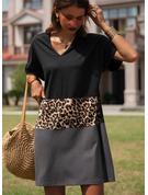 Leopard Farbblock Etuikleider Kurze Ärmel Midi Lässige Kleidung Tunika Modekleider