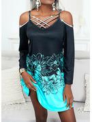 Color Block Floral Print Shift Long Sleeves Midi Casual Vacation Tunic Dresses