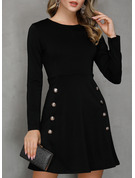 Solid A-line Long Sleeves Mini Little Black Casual Skater Dresses