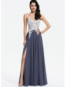 A-Line V-neck Floor-Length Chiffon Prom Dresses With Lace Beading Sequins Split Front