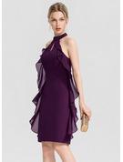 Sheath/Column Scoop Neck Knee-Length Chiffon Cocktail Dress With Cascading Ruffles