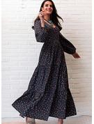 Tisk Do tvaru A Dlouhé rukávy Maxi Neformální Skaterové Módní šaty