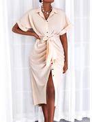 Einfarbig Etui 1/2 Ärmel Maxi Lässige Kleidung Hemdkleider Modekleider
