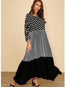 Nášivky Kostkovaný Puntíky Šaty Shift 3/4 rukávy Maxi Neformální Módní šaty