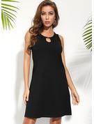 Jednolity Suknie shift Bez Rękawów Mini Mała czarna Nieformalny Wakacyjna Basen Modne Suknie