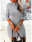 Plaid Bodycon Long Sleeves Mini Elegant Dresses