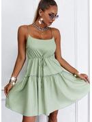 Jednolity Bez pleców Sukienka Trapezowa Bez Rękawów Mini Nieformalny Łyżwiaż Rodzaj Modne Suknie