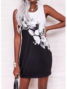 Color Block Blomster Print Skiftekjoler Ærmeløs Mini Elegant Mode kjoler