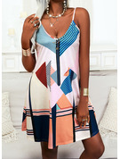 Trozos de color estampado geométrico Impresión raya Vestido línea A Sin mangas Mini Casual Vacaciones Patinador Tipo Vestidos de moda