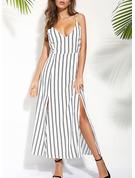 Striped Sheath Sleeveless Maxi Casual Vacation Type Dresses