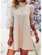 Einfarbig Etuikleider Lange Ärmel Mini Lässige Kleidung Tunika Modekleider