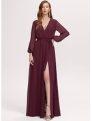 Split Front V-Neck Long Sleeves Maxi Dresses