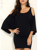 Solid Sheath Batwing Sleeves Cold Shoulder Sleeve Long Sleeves Mini Casual Dresses