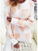 Rundhalsausschnitt Lässige Kleidung Perlen Druck Pullover