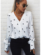 Lace Print Heart V-Neck Long Sleeves Button Up Elegant Shirt Blouses