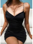 Solid Conică Kolsuz Mini gündelik Tip Moda Elbiseler