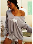 Druck V-Ausschnitt Lange Ärmel Lässige Kleidung T-shirt
