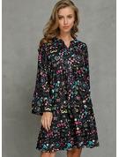 Blomster Print Skiftekjoler Flare-ærmer Lange ærmer Midi Casual Tunika Mode kjoler