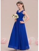 A-Line/Princess V-neck Floor-Length Chiffon Junior Bridesmaid Dress