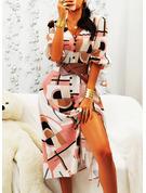 Print A-linjeklänning 1/2 ärmar Maxi Fritids skater Modeklänningar