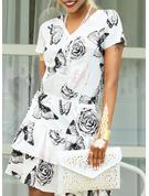 Zviřecí Potisk Květiny Pouzdrové Krátké rukávy Mini Neformální Módní šaty