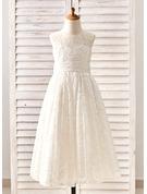 Çan/Prenses Uzun Etekli Çiçek Kız Elbise - Dantel Kolsuz Mücevher Ile Büzgülü