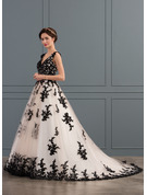De baile Decote V Cauda de sereia Tule Vestido de noiva com Apliques de Renda