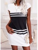 Trozos de color Impresión raya Vestidos sueltos Manga Corta Mini Elegante Vestidos de moda