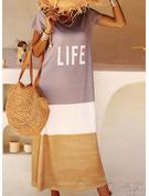 Color Block Print Shift Short Sleeves Maxi Casual T-shirt Dresses