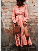PolkaDot A-line Long Sleeves Puff Sleeves Midi Casual Elegant Skater Dresses