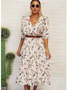 Blomster Print Kjole med A-linje 3/4 ærmer Midi Casual Elegant skater Mode kjoler