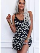 Kwiatowy Koronka Nadruk Sukienka Trapezowa Bez Rękawów Mini Nieformalny Łyżwiaż Rodzaj Modne Suknie