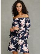 Floral Impresión Vestido línea A Mangas 3/4 Mini Casual Vestidos de moda