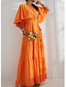 Einfarbig A-Linien-Kleid Kurze Ärmel Geteilte Ärmel Maxi Party Skater Modekleider