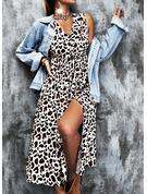 Leopard A-line Sleeveless Midi Casual Skater Dresses