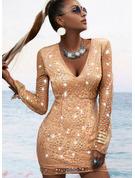 pailletter Bodycon Lange ærmer Mini Party Mode kjoler