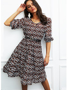 Print A-line Long Sleeves Midi Casual Skater Dresses