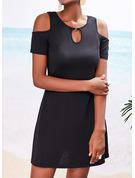 Sólido Vestido línea A Manga Corta Midi Pequeños Negros Casual Patinador Vestidos de moda