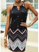 Print Sheath Sleeveless Mini Casual Vacation Type Dresses