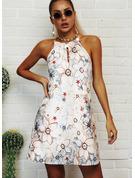 Floral Impresión Escotado por detrás Vestidos sueltos Sin mangas Mini Casual Vacaciones Vestidos de moda