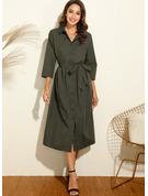 Einfarbig A-Linien-Kleid Lange Ärmel Midi Lässige Kleidung Hemdkleider Modekleider