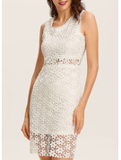 Lace Solid Bodycon Sleeveless Midi Casual Elegant Dresses