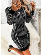 Print Bodycon Long Sleeves Mini Elegant Dresses